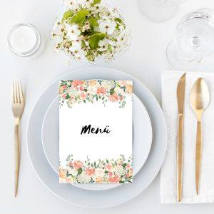 Druckvorlage Hochzeit Menü