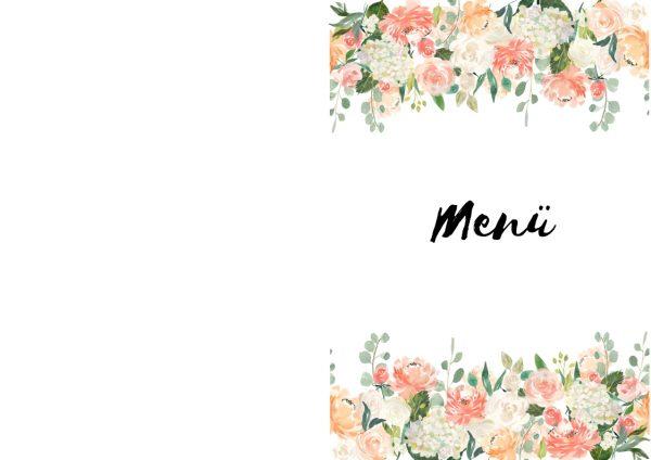 Menü Vorlage Hochzeit